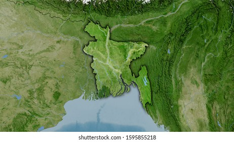 Bangladesh area on the satellite B map in the stereographic projection - raw composition of raster layers with dark glowing outline