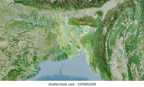 Bangladesh area on the satellite D map in the stereographic projection - raw composition of raster layers