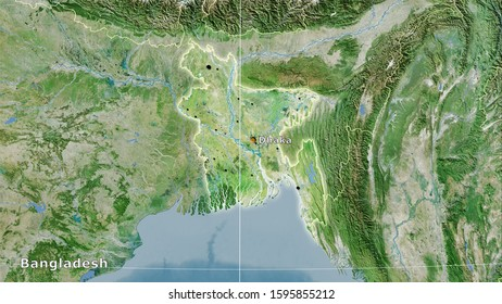 Bangladesh area on the satellite D map in the stereographic projection - main composition