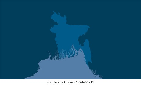 Bangladesh area on the solid map in the stereographic projection - raw composition of raster layers
