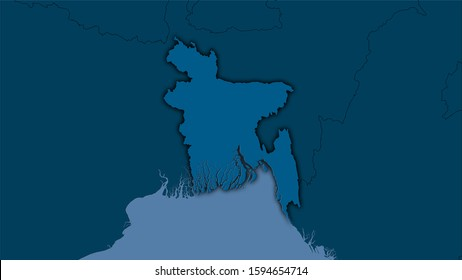 Bangladesh area on the solid map in the stereographic projection - raw composition of raster layers with dark glowing outline