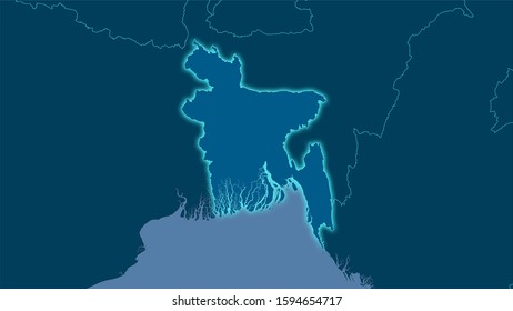 Bangladesh area on the solid map in the stereographic projection - raw composition of raster layers with light glowing outline