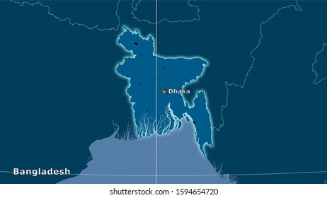Bangladesh area on the solid map in the stereographic projection - main composition