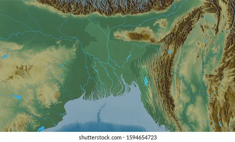 Bangladesh area on the topographic relief map in the stereographic projection - raw composition of raster layers