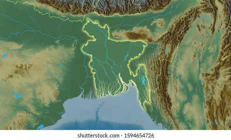 Bangladesh area on the topographic relief map in the stereographic projection - raw composition of raster layers with light glowing outline