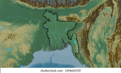 Bangladesh area on the topographic relief map in the stereographic projection - raw composition of raster layers with dark glowing outline