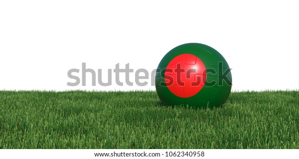 Bangladesh Bangladeshis flag soccer ball lying in grass, isolated on white background. 3D Rendering, Illustration.