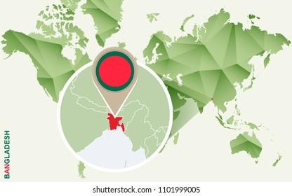 Bangladesh, detailed map of Bangladesh with flag. Raster copy.