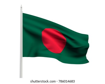 Bangladesh flag floating in the wind with a White sky background. 3D illustration.