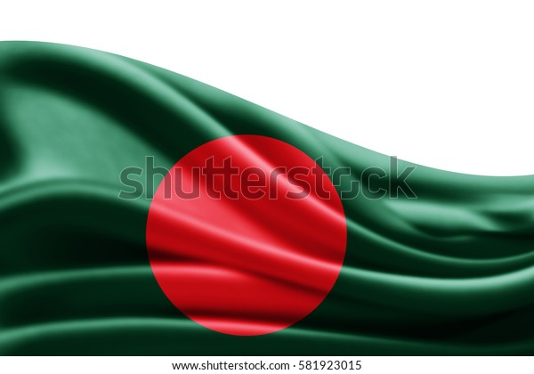 Bangladesh flag of silk with copyspace for your text or images and white background -3D illustration