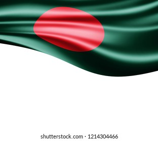 Bangladesh flag of silk and white background-3D illustration