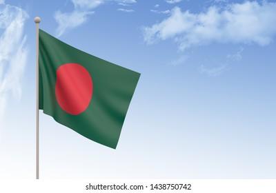 Bangladesh Flag Waving with blue sky 3D illustration, Bangladesh day concept 3d render, Bangladeshi flag,