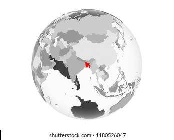 Bangladesh highlighted in red on grey political globe with transparent oceans. 3D illustration isolated on white background.