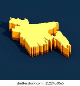 Bangladesh Map - 3D Illustration