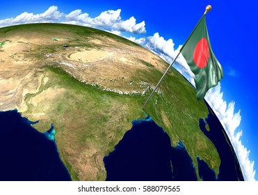 Bangladesh national flag marking the country location on world map. 3D rendering, parts of this image furnished by NASA
