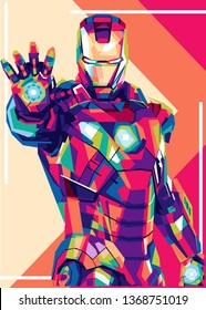 Banjarmasin Indonesia, April 14th 2019,Iron Man is a fictional character from marvel avengers