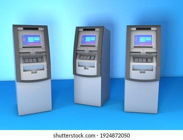 Bank atms 3d illustration in blue background