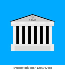 Bank buildiing isolated. Architecture bank, financial institution, architectural classical exterior. illustration
