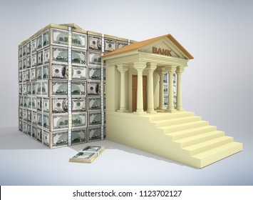 Bank building with dollar banknotes. 3D illustration.