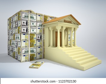 Bank building with dollar and euro  banknotes. 3D illustration.