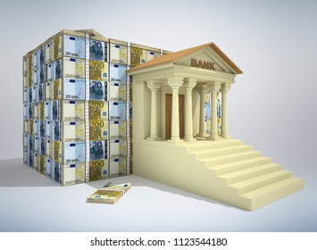 Bank building with euro banknotes. 3D rendering. 3D illustration.