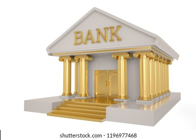 A bank building isolated on white background 3D illustration.