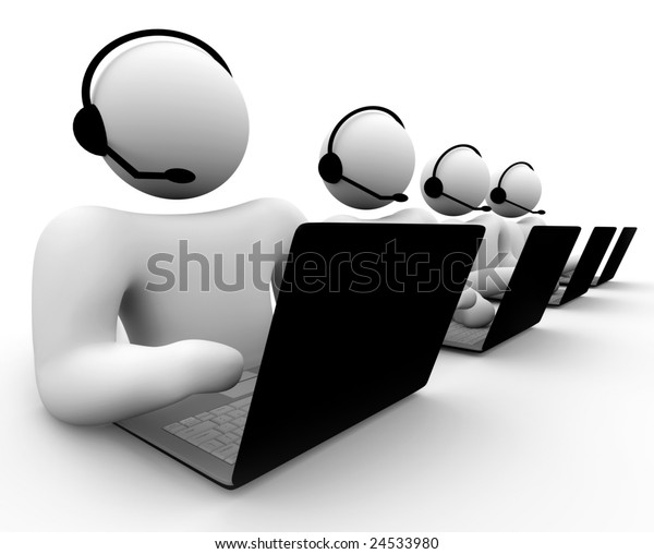 A bank of call center operators -- customer service, computer tech support, etc.