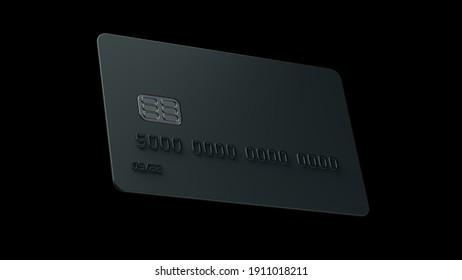 Bank Card. 3D Rendering. 8K