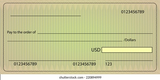 Bank check blank order. Vector stock illustration