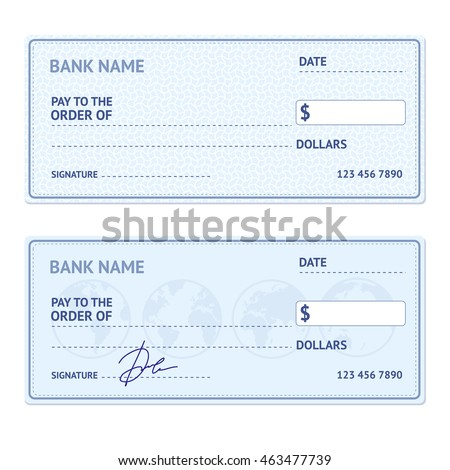 bank check template set modern design stock illustration 463477739