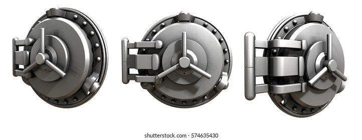 bank door on the white background. 3d rendering. steel. metal.
