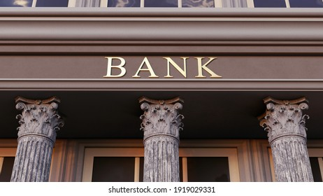 Bank facade, generic 3d illustration. Traditional banking institution front with classical architectural columns. Symbolic of stability and rock solid conservatism in finances.