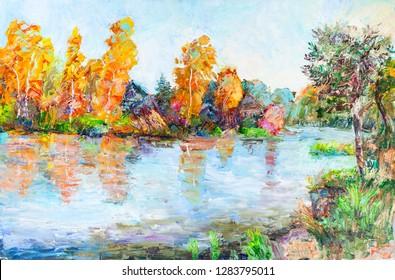 the bank of river Volga in September. sunny day,