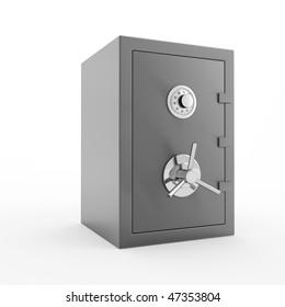 Bank safe. 3d illustration of closed steel safe over white background.