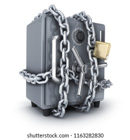 Bank safe and chain. Isolated on white background. 3d illustration.