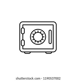 Bank safe line icon. linear style closed safe isolated. Security single isolated modern abstract line design icon safe vault. Bank line icon outline simple sign linear style pictogram. Editable stroke