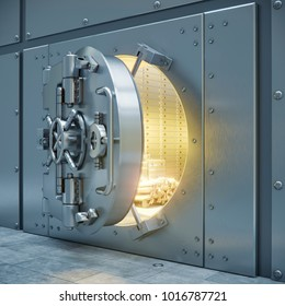 Bank safe storage 3d illustration