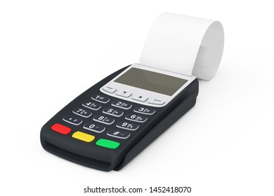 Bank Terminal Cash Register POS Machine for Payment with Blank Rolled Cach Tape on a white background. 3d Rendering