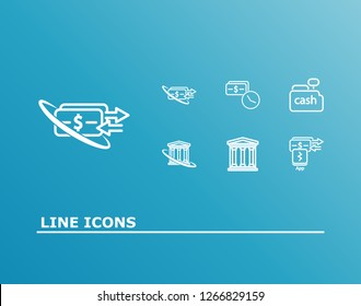 Bank transaction icon set and bank credit with app payment, mobile payment and money online transfer. Banking building related bank transaction icon  for web UI logo design.