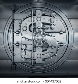 Bank Vault Door. Business concept. currency dollar symbol and banking safe. High resolution 3D