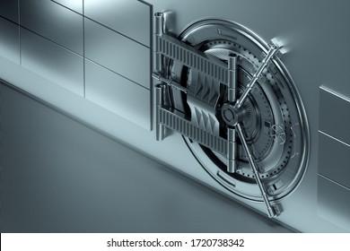 Bank vault door, large safe, sturdy metal. The concept of bank deposits, deposit, cells, good protection of savings. Copy space, 3D illustration, 3D render