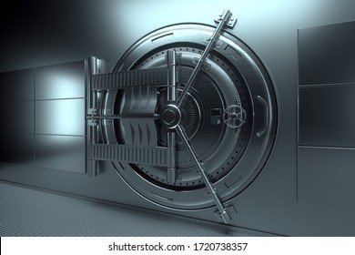 Bank vault door, large safe, sturdy metal. The concept of bank deposits, deposit, cells, good protection of savings. Copy space, 3D illustration, 3D render
