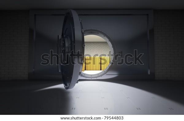 Bank vault door open background