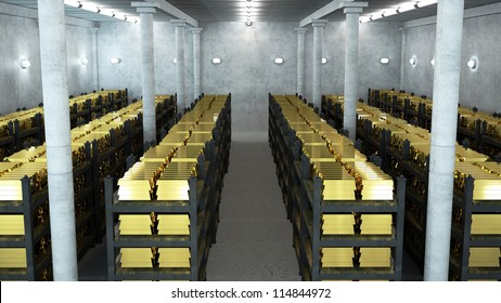 bank vault with gold bars