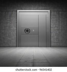 Bank vault with metal door