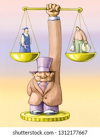 banker holds balance, on a pan there is man dressed as a worker on the other one a man with purses spent concept of the economy based on production and consumptions political cartoon