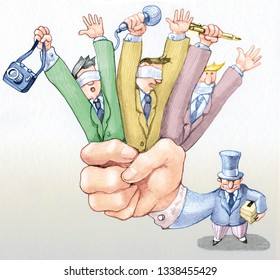 banker holds in her hand three journalists they don't see they don't hear they don't speak