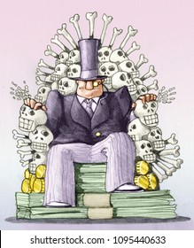 a banker sat on a throne of money and skeletons image of power and destruction