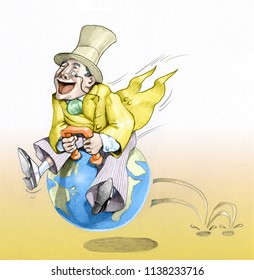 a banker uses the planet as a ball on which to happily skip about indifferent to the conseguences political cartoon the allegory of the egoism of finance indifferent to the health of the planet