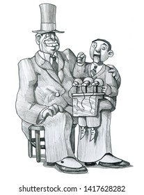 banker ventriloquist on his knees a political puppet allegory of the control of economic power over politics humorous political cartoon